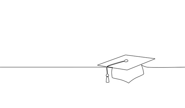 Single continuous line art graduation cap. Celebration ceremony master degree academy graduate design one sketch outline drawing vector illustration