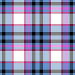 Tartan seamless plaid pattern in blue, pink, black and white