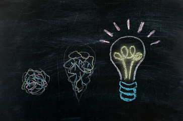 Chalkboard with Chalk Drawing of Hanging Light Bulb. Bright idea on blackboard concept. Way of thinking, the birth of idea. Creative, bright, unusual, interesting idea. Eureka, inspiration.