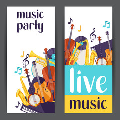 Jazz party live music banners with musical instruments