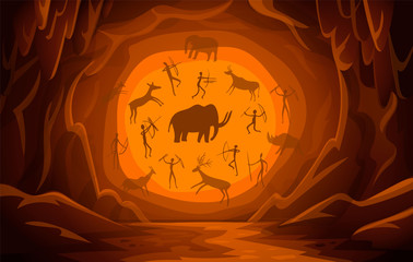 Cave with cave drawings. Cartoon mountain scene background Primitive cave paintings. ancient petroglyphs.