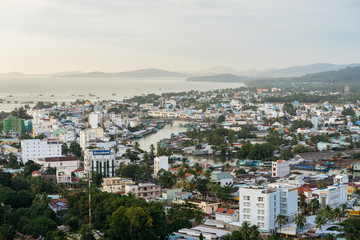 DUONG DONG, PHU QUOC, VIETNAM - NOVEMBER 14, 2017: View from the high on town, sea, bay and hills