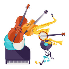 Background with musical instruments. Jazz music festival poster
