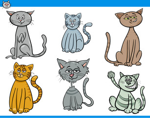 funny cartoon cats characters set