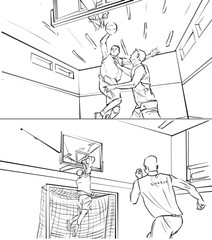 Storyboard of two men playing basketball
