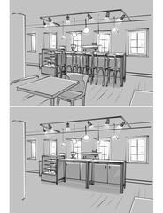 Illustration of cafe interior