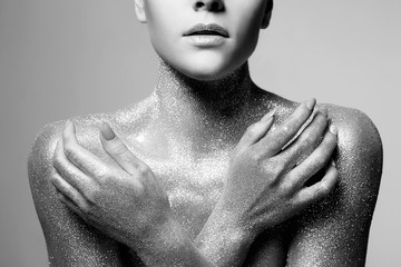 Silver Girl. Beautiful Woman in Sparkles