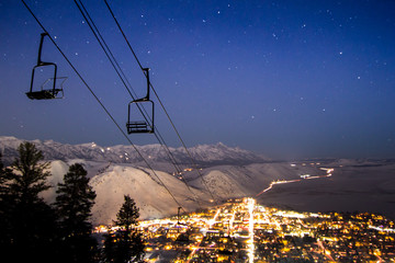 The town of Jackson, WY at night