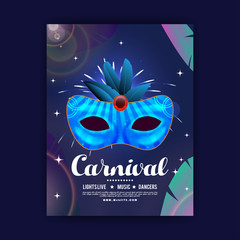 happy brazilian carnival festival. carnival blue brochure having detailed mask and white typography with sample text on blue background