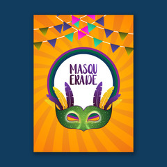 happy brazilian carnival festival. carnival yellow brochure having mask, flags and typography on blue background