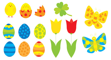 Easter elements collection with easter eggs,,tulips, easter chicks / vectors set for children on white background