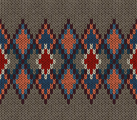 Seamless Knitted Pattern. Red Blue White Brown Color. Fashionable youth modern style