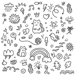 Hand painted cat, birds, rainbow, sun and other art elements on doodle pattern
