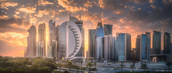 Skyline of West Bay and Doha City Center, Qatar Wall mural