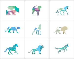 Colorful and abstract animal logos set. Lion, dog, horse, fish vector icons, bird and pet shop and care center illustration.