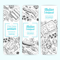 Italian Antipasto banner collection, vertical poster. A set of Italian food. Food menu design template. Vintage hand drawn sketch vector illustration. Engraved image