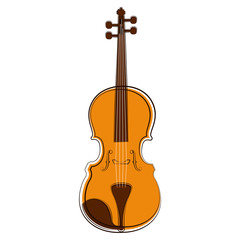 Isolated violin sketch. Musical instrument