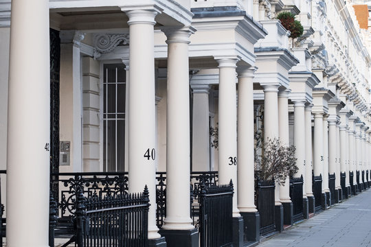 View of the porches of a terrace of Georgian housing in an upmarket district of central London