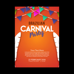 happy brazilian carnival festival. carnival orange brochure having typography and sample text