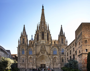 Cathedral of the Holy Cross and Saint Eulalia in Barcelona. Spain