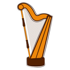 Isolated harp sketch. Musical instrument