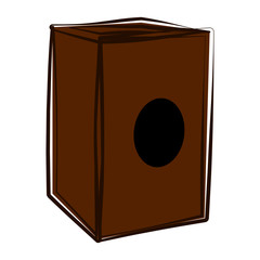 Isolated cajon sketch. Musical instrument