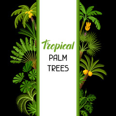 Background with tropical palm trees. Exotic tropical plants Illustration of jungle nature