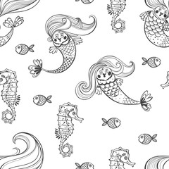 Undersea world. Seamless pattern with mermaids and seahorses. Black and white vector illustration.