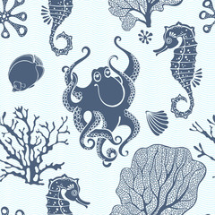Underwater world. Seamless pattern with seahorses, octopus and  plants. Monochrome vector background. Silhouettes.