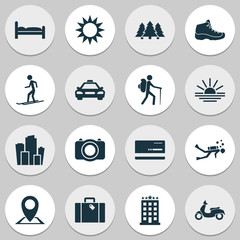Journey icons set with taxi, hiking boot, diving and other camera  elements. Isolated vector illustration journey icons.