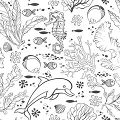 Underwater world. Seamless pattern with seahors, dolphin and  plants. Black and white vector illustration.