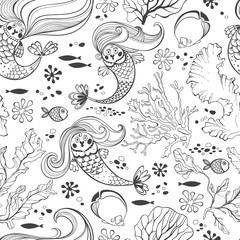 Undersea world. Seamless pattern with mermaids. Black and white vector illustration.