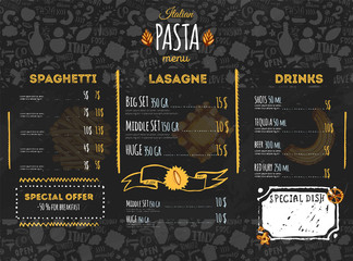 Italian pasta menu design for restaurant and cafe. Template with sketch hand drawn spaghetti pattern on dark chalkboard