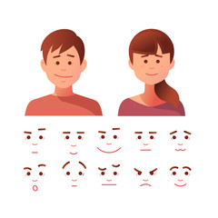 Vector illustration of face icon set in flat style.