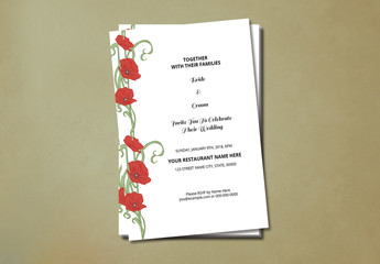 Wedding Invitation with Red Flower Sidebar