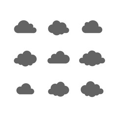 Cloud vector icon set. Cloud shape. Technology Save share data information concept. Design Logo, mobile app, website social media, UI, EPS, Flat sign isolated on white