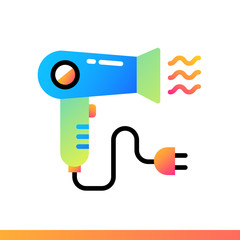 Flat icon Hair dryer. Hotel services. Material design icon suitable for print, website and presentation