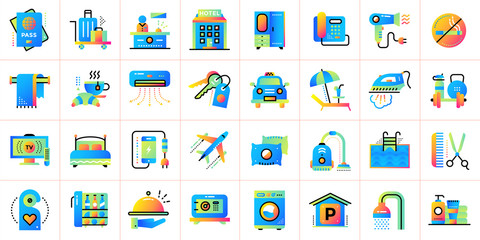 Big flat icons set of Hotel services. Suitable for print, presentation, web