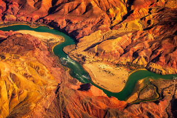 Photo sur Toile Orange eclat Aerial landscape view of Colorado river in Grand canyon, USA