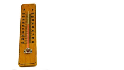 Wooden thermometer isolatet on white background