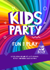 Kids party letter sign poster. Cartoon letters and shapes in abstract rainbow rays colorful background. Vector flyer template illustration