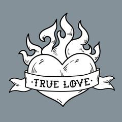 Flaming Heart Tattoo with ribbon. True love.