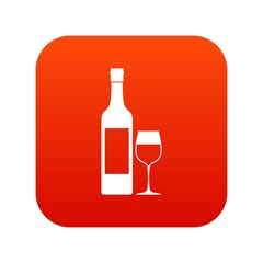 Bottle of wine icon digital red