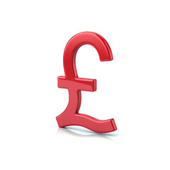 Red pound sterling symbol