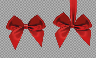 Two big beautiful red bow, made of ribbons on a transparent background. Vector graphics. Realistic red bow isolated.