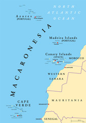 Macaronesia political map. Azores, Cape Verde, Madeira and Canary Islands. Collection of four archipelagos in the North Atlantic Ocean, off the coast of Africa. English labeling. Illustration. Vector.
