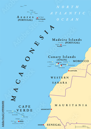 Macaronesia political map Azores Cape Verde Madeira and Canary