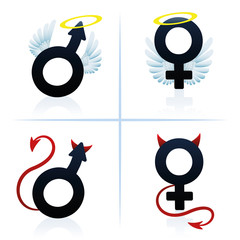Good and evil man and woman. Male and female angel and devil symbols. Isolated vector illustration on white background.