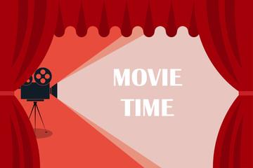 Cinema background or banner. Movie time. Movie ticket. Cinema camera