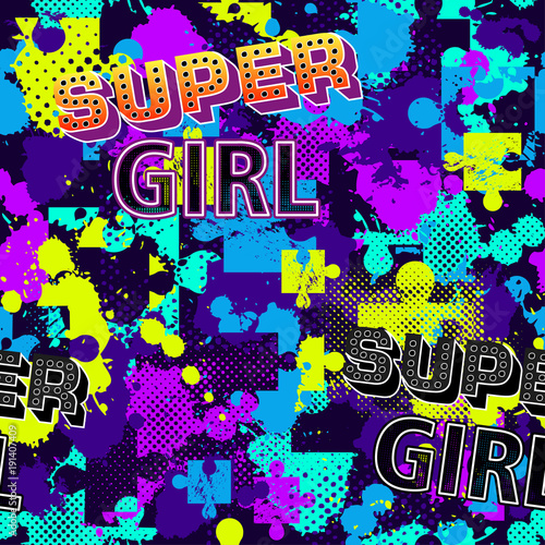 Abstract Seamless Puzzle Pattern For Girls Boys Creative Vector With Square